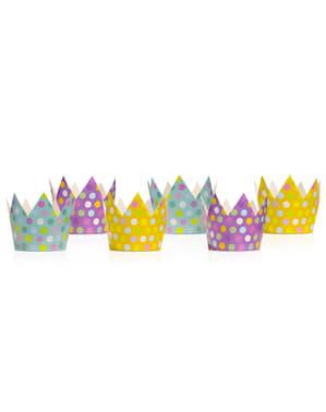 סט 6 כובעים המפלגה קראון עם ססגוניות נקודות - אוסף נקודות פולקה