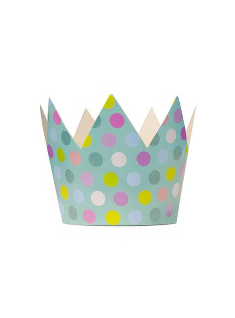 6 gorritos con forma de corona multicolor de lunares - Polka Dots Collection - para tus fiestas