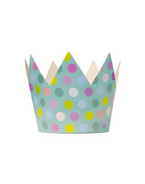 Sett med 6 Krone Festhatter med Flerfarget Prikker - Polkaprikker Kolleksjon