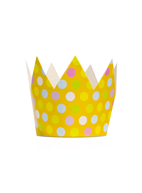 6 Crown Party Hats with Multicolor Dots - Polka Dots Collection