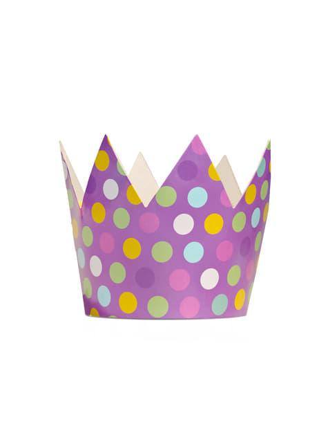 6 gorritos con forma de corona multicolor de lunares - Polka Dots Collection - comprar