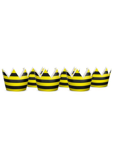 6 gorritos rayas amarillo y negro de papel - Bee Collection