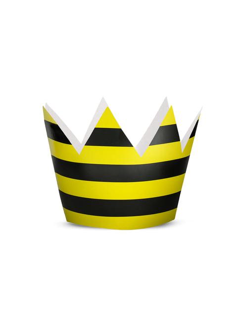 6 gorritos rayas amarillo y negro de papel - Bee Collection - para tus fiestas