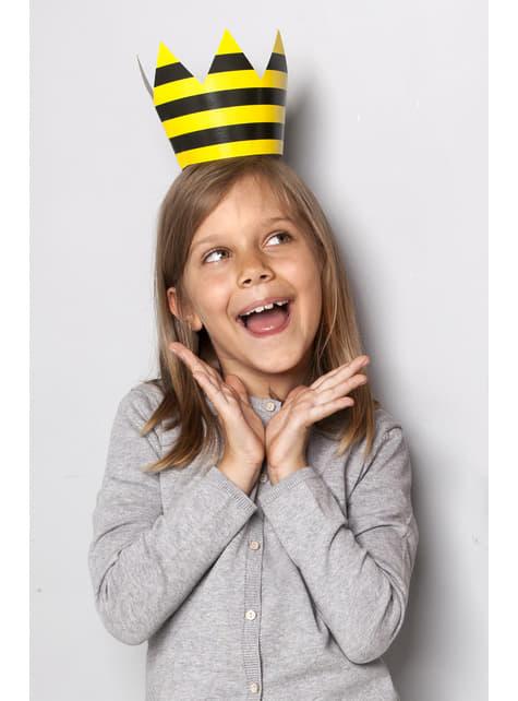 6 gorritos rayas amarillo y negro de papel - Bee Collection - barato