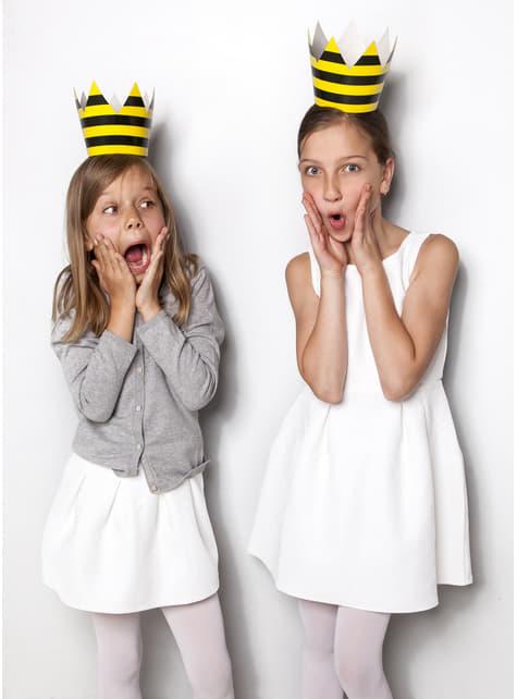 6 gorritos rayas amarillo y negro de papel - Bee Collection - comprar