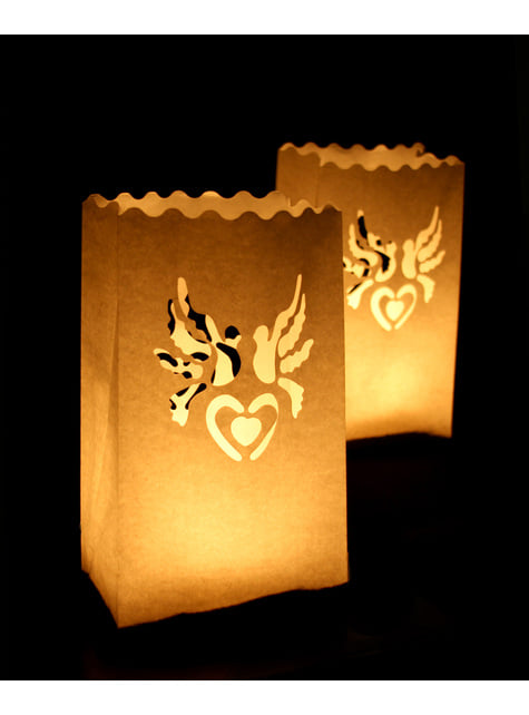 10 bolsas para velas con troquelado en forma de palomas