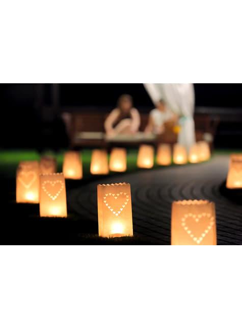 10 bolsas para velas con troquelado en forma de corazón