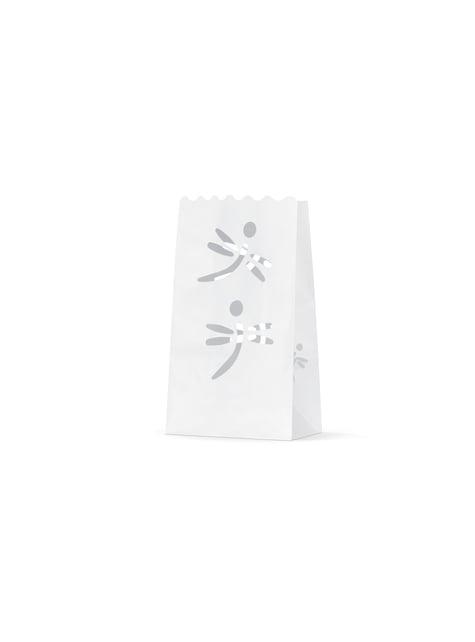10 sacs à bougies blanches en forme de libellule
