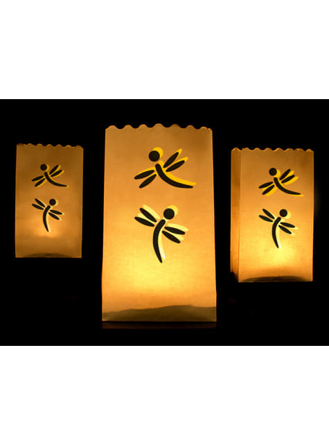 10 bolsas para velas con troquelado en forma de libélula
