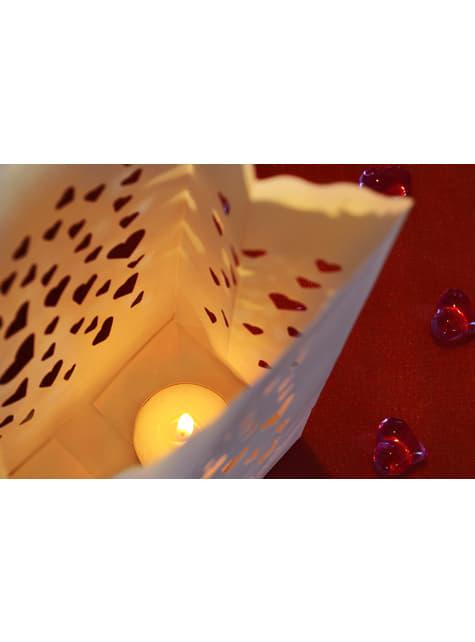 10 sacs à bougies blanches en forme de cœurs