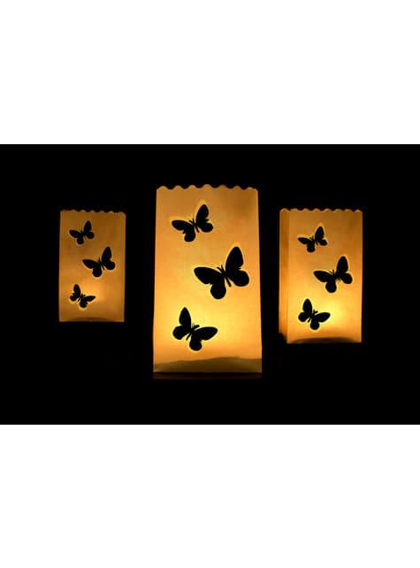 10 bolsas para velas con troquelado en forma de mariposas