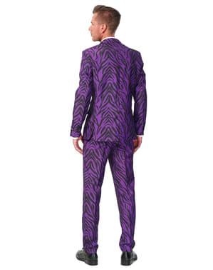 Originální oblek Suitmeister tygří vzor fialový