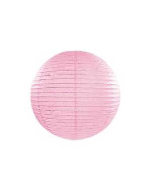 Papirlanterne i rosa med mål på 35 cm