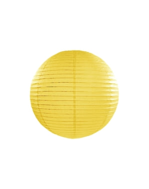 Papirlanterne i gul med mål på 35 cm
