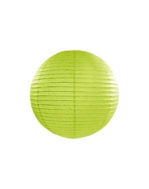 Paper lantern in lime green measuring 35 cm