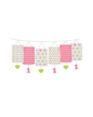 Guirlande af lyserøde mønstrede lanterner - jeg er nr. 1