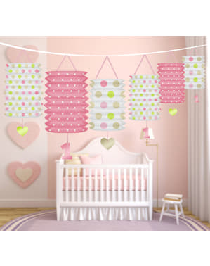 Girlander med rosa mønstrete lanterner - I'm No 1