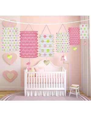 Grinalda com lâmpadas de papel com estampados cor-de-rosa - I'm nº1