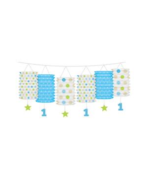 Grinalda com lâmpadas de papel com estampados azuis - I'm nº1