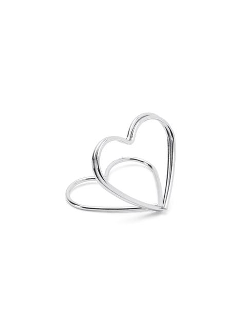 10 sujeta marcasitios con forma de corazón plateado para mesa