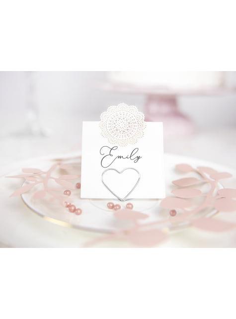 10 porte-nom en forme de cœur argenté pour la table