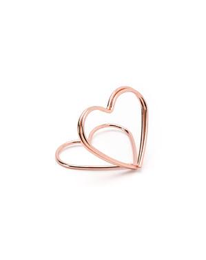 Altın Kalp Şeklinde 10'lu Yer Kartı Tutucu Set - Gold Wedding