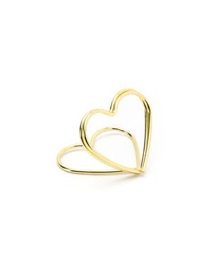10 златисти поставки за картички във формата на сърца– Gold Wedding