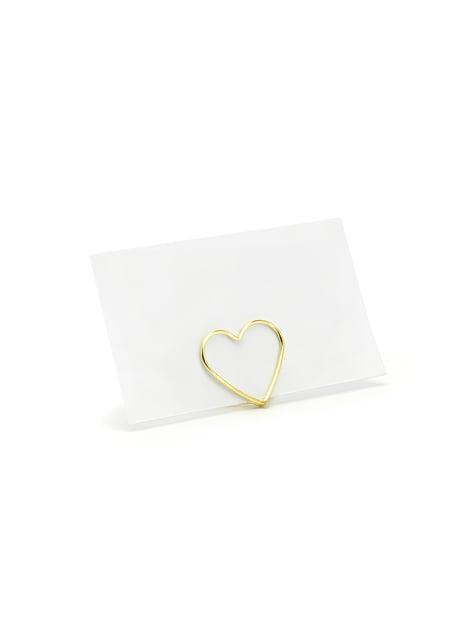 Conjunto de 10 porta-cartões em forma de coração dourado para  mesa - Gold Weddin