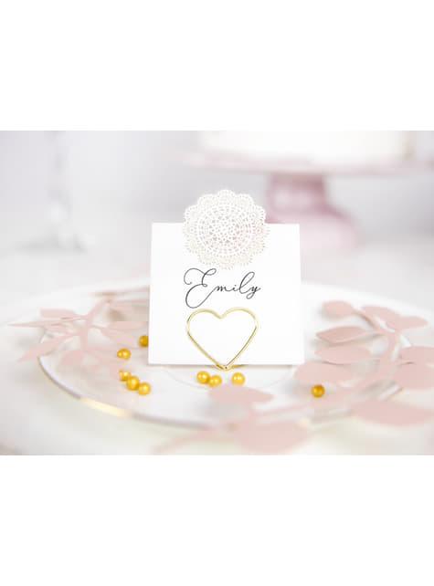 10 porte-nom en forme de cœur doré pour la table - Gold Wedding
