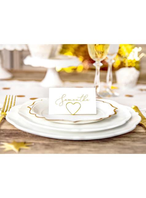 10 sujeta marcasitios con forma de corazón dorado para mesa - Gold Wedding - comprar