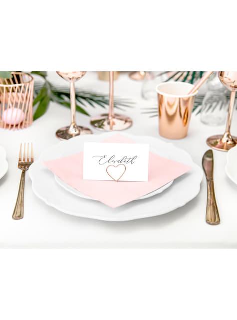 10 sujeta marcasitios con forma de corazón dorado para mesa - Gold Wedding