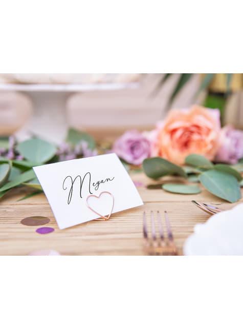 10 sujeta marcasitios con forma de corazón oro rosa para mesa - Tropical Wedding