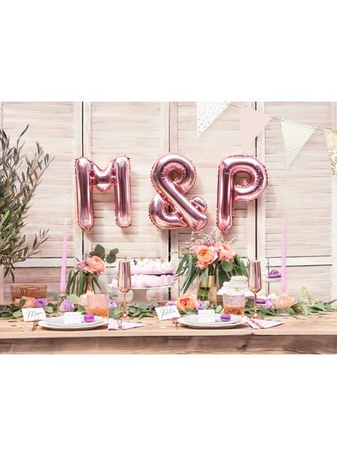10 ruusunkultaista sydämenmuotoista nimikortin pidikettä - Tropical Wedding