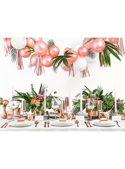 10 porte-nom en forme de cœur rose gold pour la table - Tropical Wedding