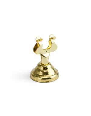 Traditionel kortholder i guld til bord