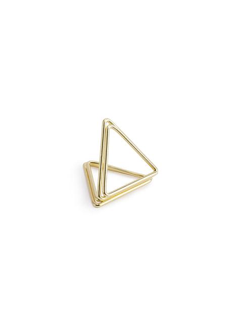 10 sujeta marcasitios triangular dorado para mesa