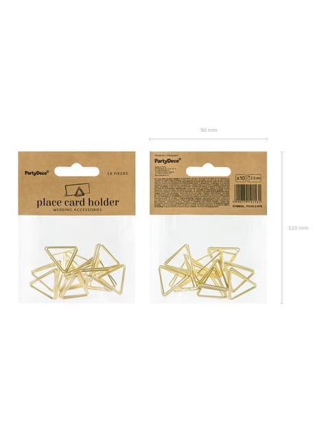 10 porte-nom triangle doré pour la table