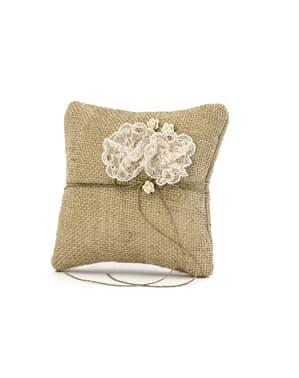 Porte alliances en raphia avec dentelle beige en forme de fleur