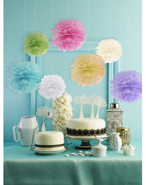 Decorative paper pom-pom in white measuring 25 cm