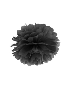 Decorative paper pom-pom in black measuring 35 cm