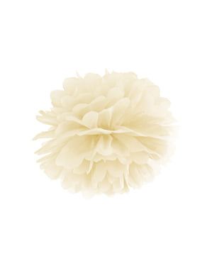 Pompom decorativo de papel bege   de 35 cm