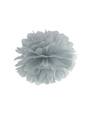 Pompom decorativo de papel cinzento  de 35 cm