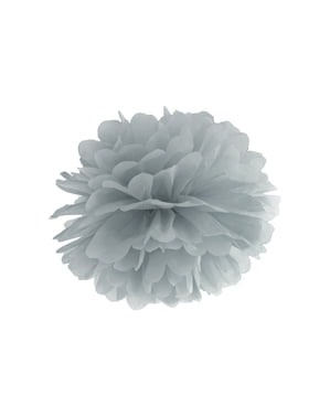 Pompón decorativo gris de 35 cm de papel