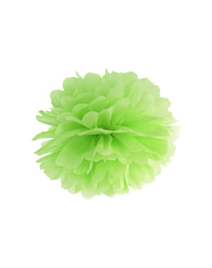 Decorative paper pom-pom in green measuring 35 cm