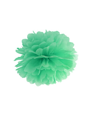 Decorative paper pom-pom in mint green measuring 35 cm