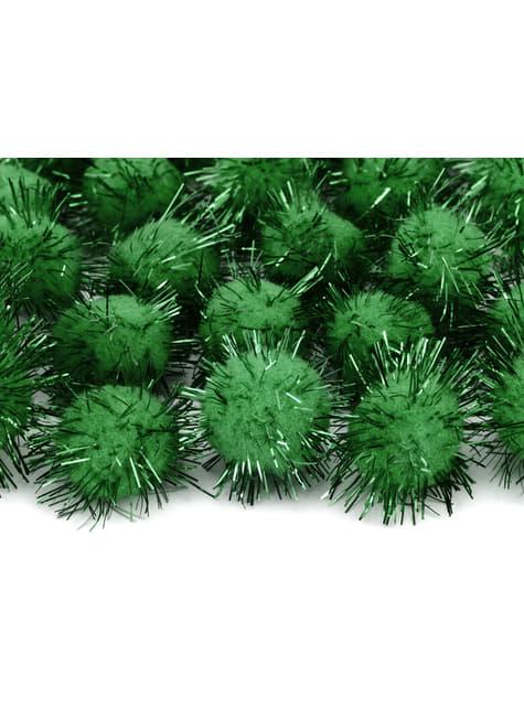 Balení 20 tmavě zelených dekorativních bambulek se štětinami