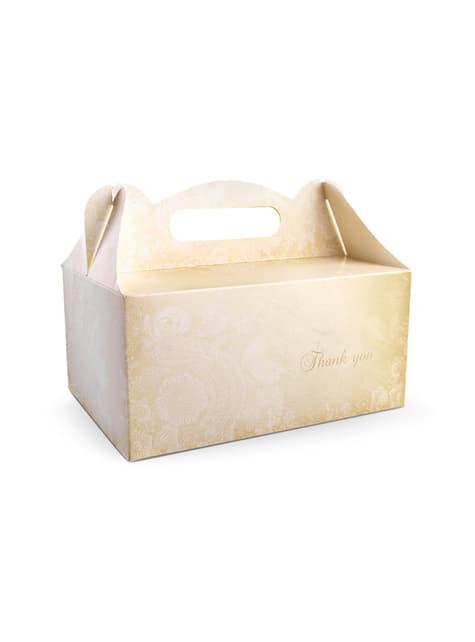 10 cajas doradas con estampado y texto en inglés para pastel
