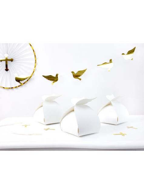 10 boîtes à gâteaux blanches avec anses - First Communion