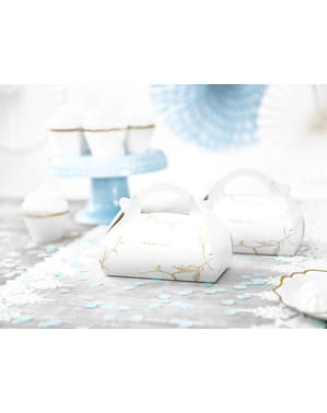 """Tetapkan 10 """"Terima Kasih"""" Kue Kue, Putih dengan Cawangan Emas dan Teks - Perkahwinan Putih & Emas"""
