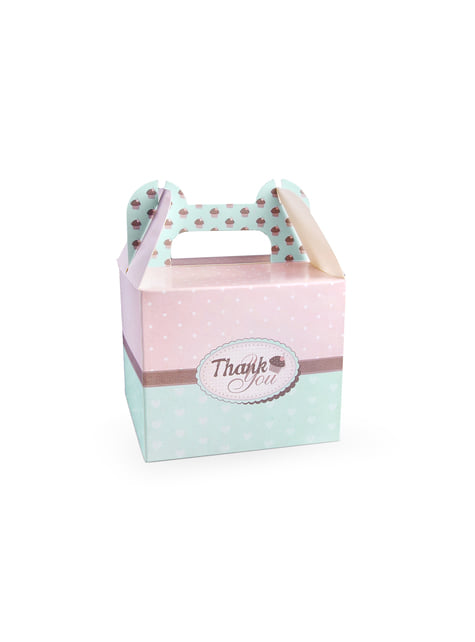 10 cajas decorativas Thank You rosas con azul celeste para pastel
